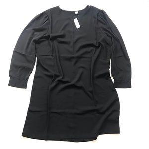 NWT Old Navy Black Shift Dress Sz XL Long Sleeve